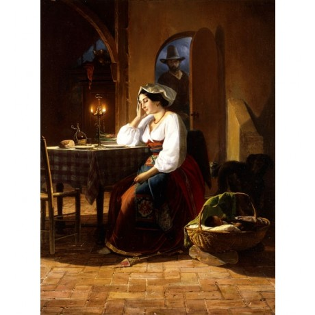 JOHAN PHILIP KOELMAN Late Home BABY mother wife husband lamplight CANVAS PRINT