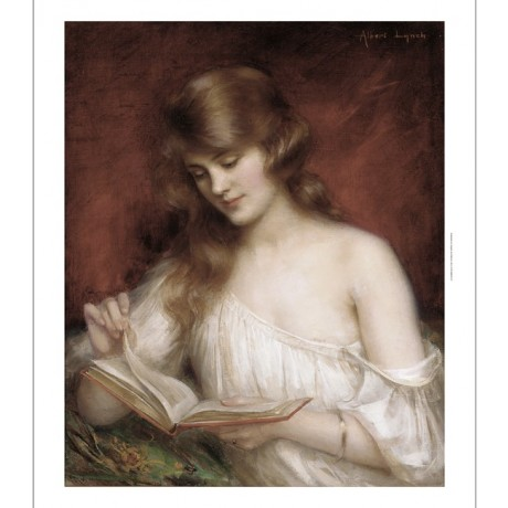 "ALBERT LYNCH ""A Quiet Read"" WOMAN reading book showing SHOULDER red background"
