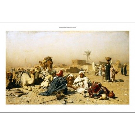 "LEOPOLD CARL MULLER ""An Arab Encampment"" DESERT dusty camel woman CANVAS PRINT"
