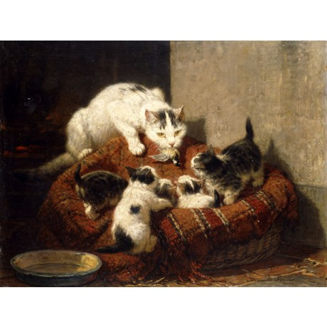 "HENRIETTE RONNER-KNIP ""A Feathered Gift"" KITTENS mother dead bird CANVAS PRINT"