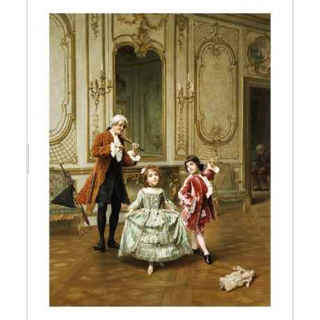"CHARLES EDOUARD DELORT ""Dancing Lesson"" ON CANVAS choose SIZE, from 55cm up, NEW"