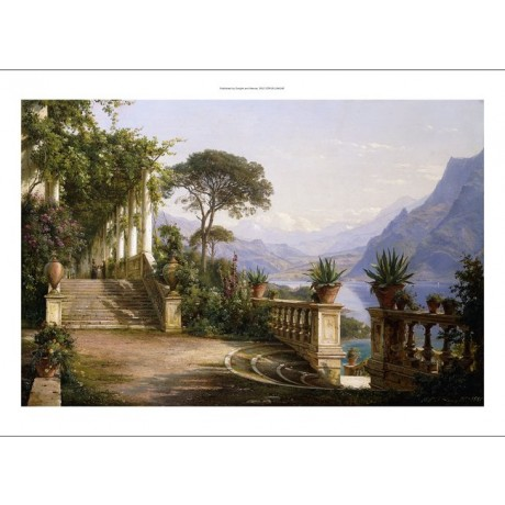 "CARL FREDERIC AAGAARD ""Loggia Fra Como"" SCENIC mountain steps NEW CANVAS PRINT"