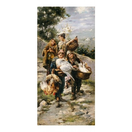 """L PERNETT """"Going To Market II"""" print NEW ON CANVAS choose SIZE, from 55cm up"""