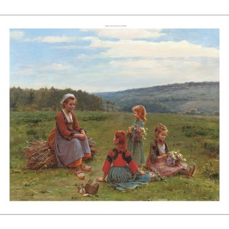 "CESAR PATTEIN ""The Flower Pickers"" children CANVAS choose SIZE, from 55cm up"