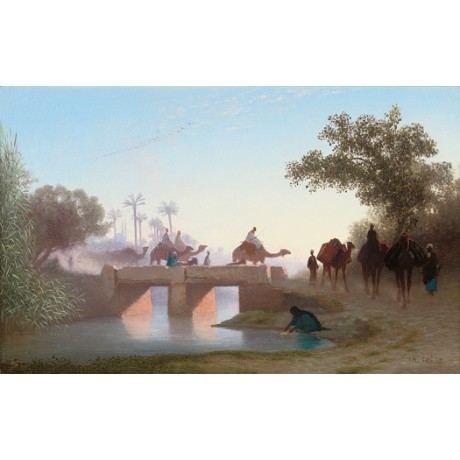 "CHARLES THEODORE FRERE ""A Camel Train Crossing a River"" various SIZES, BRAND NEW"