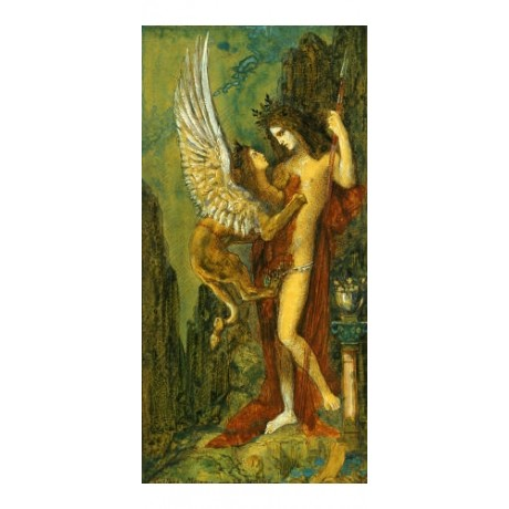 "GUSTAVE MOREAU ""Sphinx"" Nude Art CANVAS EDITION choose SIZE, from 55cm up, NEW"