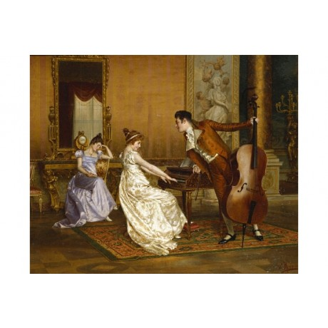 "REGIANINI ""The Flirt"" sleeping chaperone COY cello piano NEW CANVAS PRINT giclee"