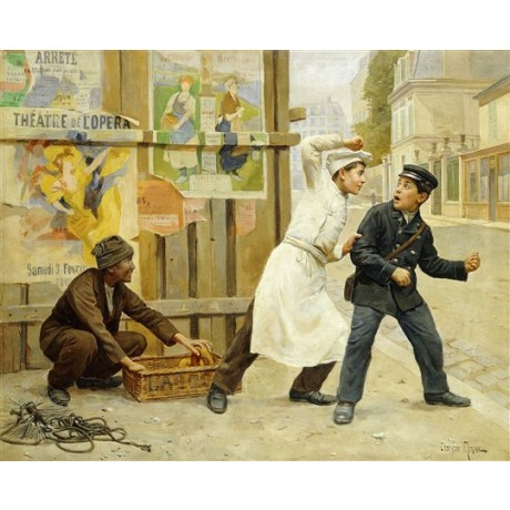 "Paul Charles Chocarne-Moreau ""The Diversion"" vagabonds stealing from bread boy"