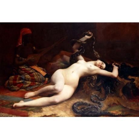 EMILE CAMBIAGGIO A Charmer SNAKE coiled around NAKED woman man in shadows NEW!