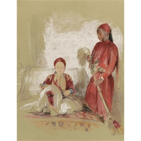 "JOHN FREDERICK LEWIS ""Prince Hassan and his Nubian Servant"" EGYPT royal CANVAS"