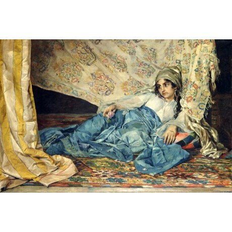 "JOSE CALA Y MOYA ""An Odalisque"" HAREM woman slave blue earring rug CANVAS PRINT"