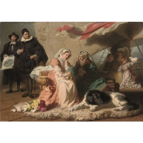 "EMIL JOHANN LAUFFER ""Princess Bride"" PLIGHT maid dog flowers courtiers CANVAS"