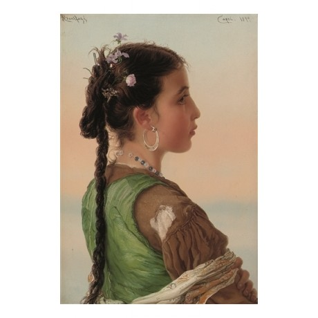 ADRIANO BONIFAZI A Capri Girl PLAITED hair flowers earring portrait CANVAS new
