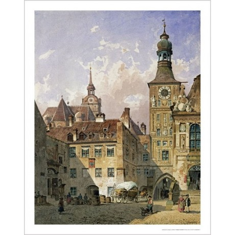 "FRIEDRICH EIBNER ""Old Town Hall, Munich"" CANVAS ART various SIZES available, NEW"