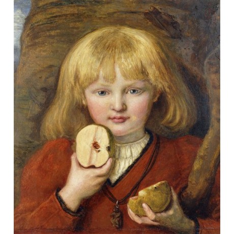 "Ford Madox Brown ""Tell's Son: Portrait of Artist's Grandson"" boy halved apple"