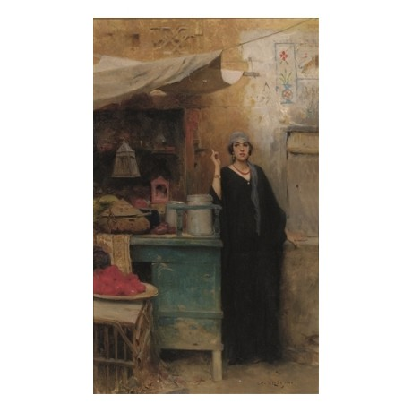 "CHARLES WILDA ""The Furtive Cigarette"" MIDDLE eastern woman SMOKING in kitchen"
