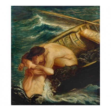 "CHARLES HASLEWOOD SHANNON ""Mermaid"" NAKED wave rowing boat holding CANVAS PRINT"