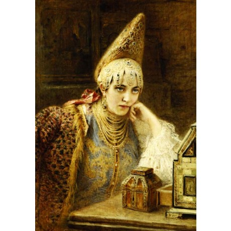 KONSTANTIN MAKOVSKY The Young Bride FINERY gold hat necklace blue CANVAS PRINT