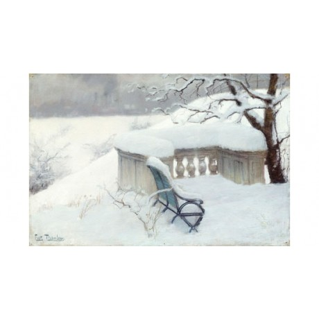 "FRITS THAULOW ""Elbpark, Hamburg"" Snow print ON CANVAS various SIZES, BRAND NEW"