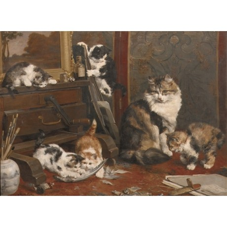 "VAN DEN EYCKEN ""A Mischievous Game"" PLAYFUL cats mayhem feather brushes CANVAS"