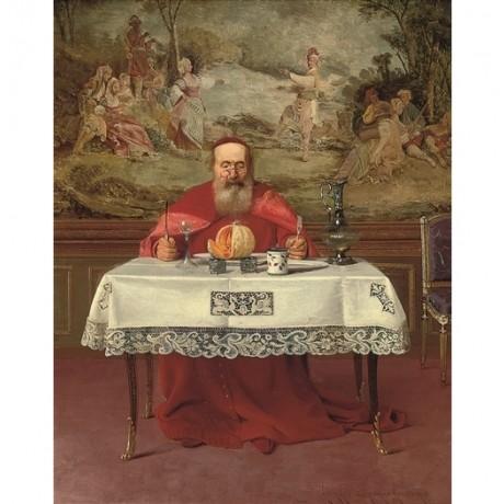 GEORGES CROEGAERT The Melon altar FEAST elderly priest indulgence table CANVAS