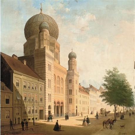 "After DE CAUWER ""Synagogue in the Oranienburger Strass, Berlin"" JEWISH CANVAS"