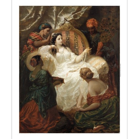 "HENRI-PIERRE PICOU ""Dressing the favorite"" BEAUTY harem jewellery slaves CANVAS"