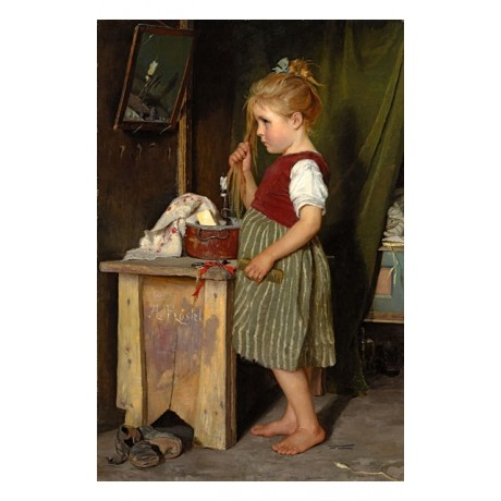 AGATHE R?STEL The little beauty poor GIRL combing hair candle mirror ON CANVAS