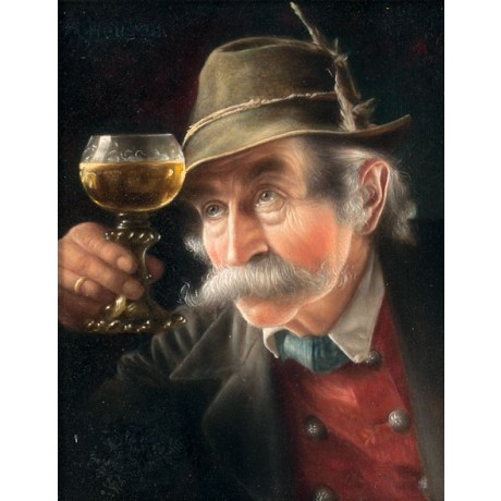 CHRISTIAN HEUSER Studies of Tyroleans man holding glass of WINE hat NEW CANVAS