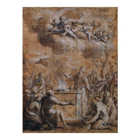 "Canvas print BIBLICAL scene ""Sacrifice Of Aaron"" GUGLIELMO BORGOGNONE BRAND NEW"