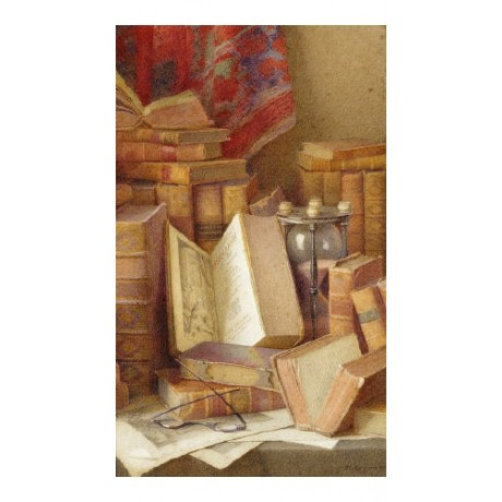 "FREDERICK SPENCER ""Old Books To Read"" CANVAS ART ! choose SIZE, from 55cm up"