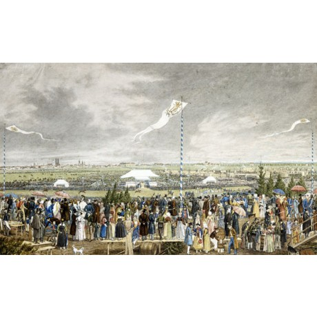 "SUPERIOR CANVAS PRINT ""Horse Race Outside Munich"" SPECTATORS flag HEINRICH ADAM"