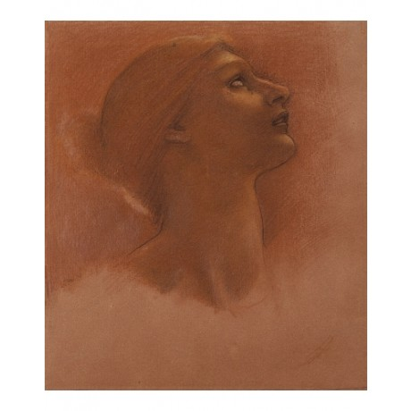 "EDWARD COLEY BURNE-JONES ""Study of Head of Girl"" CANVAS various SIZES, BRAND NEW"