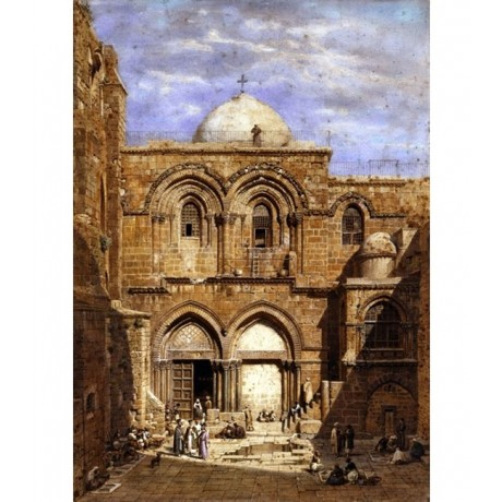 "NEW CANVAS ""Entrance to the Church of the Holy Sepulchre Jerusalem"" CARL WERNER"