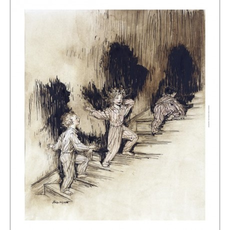 "DELIGHTFUL CANVAS PRINT brothers EXCITEMENT on ""Christmas Night"" ARTHUR RACKHAM"