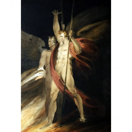 "STRIKING CANVAS PRINT ""Satan Exulting"" NAKED vengeance angel RICHARD WESTALL"