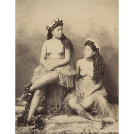 "NEW CANVAS PRINT of vintage photo ""Topless Hawaiian Girls, c1880"" hula pacific"