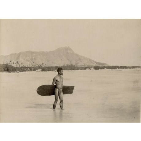 "NEW CANVAS PRINT of vintage photo ""The First Surfer"" loin cloth wooden board"