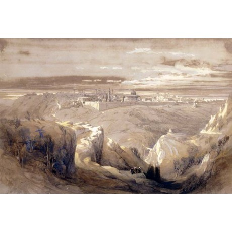 DAVID ROBERTS Jerusalem from the Road to Bethany HORIZON hillside NEW CANVAS!!