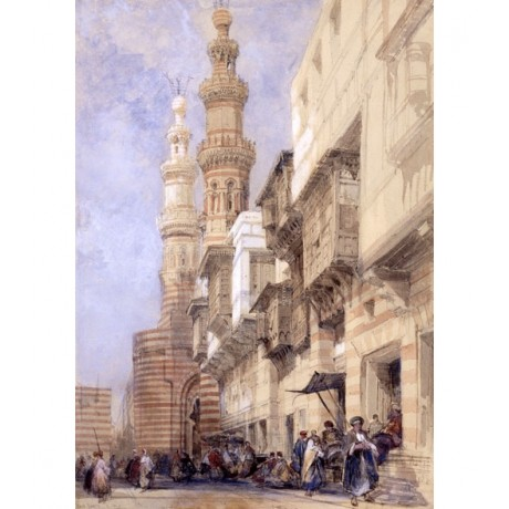 "DAVID ROBERTS ""The Gate of Metwaley, Cairo"" EGYPTIAN city building CANVAS PRINT"