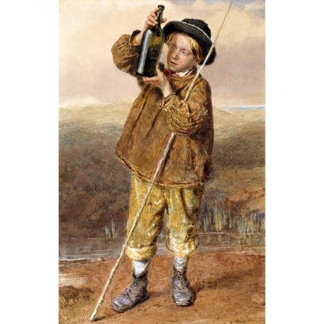 WILLIAM HENRY HUNT The Young Angler CATCH boy with fish in bottle CANVAS PRINT
