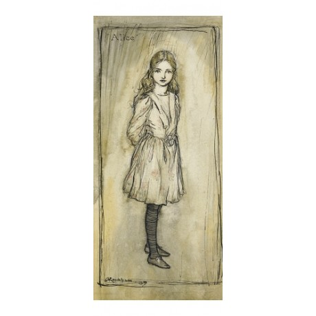 "RARE CANVAS PRINT of the WONDERFUL ""Alice"" girl curiosity lonely ARTHUR RACKHAM"
