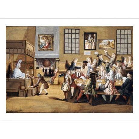 "ENGLISH SCHOOL ""Scene In A London Coffee House"" print various SIZES, BRAND NEW"