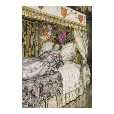 MAGICAL CANVAS PRINT Sleeping Princess MESMERISING crown shield ARTHUR RACKHAM