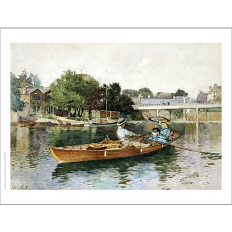 HECTOR CAFFIERI Boating Party On Thames CANVAS ART choose SIZE, from 55cm up
