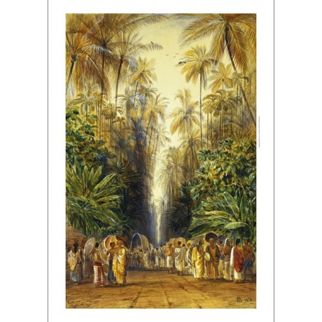"Edward Lear ""Figures on a Road Near Galle, Ceylon"" palm trees and parasols NEW"