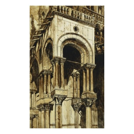 "John Ruskin (1819-1900) ""The South West Portico of St. Marks, Venice"" ON CANVAS"