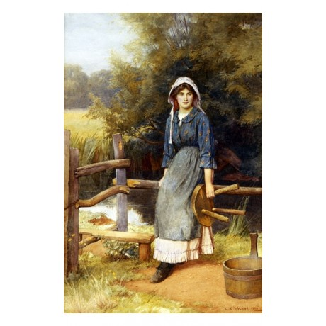 "CHARLES EDWARD WILSON ""The Milkmaid"" SMILING woman stile churn stool NEW PRINT"