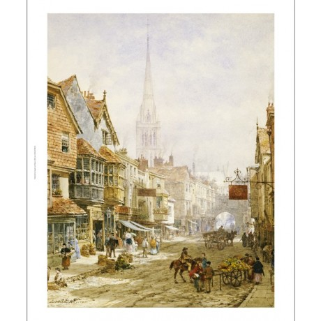 "LOUISE RAYNER ""High Street, Salisbury"" print ON CANVAS various SIZES, BRAND NEW"