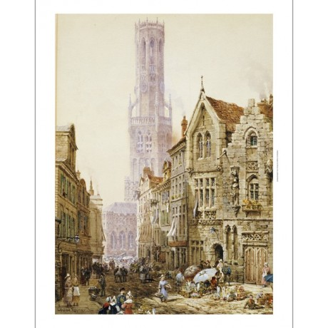 "LOUISE RAYNER ""Flower Sellers In Bruges"" CANVAS EDITION various SIZES, BRAND NEW"